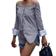 Womens Striped Shirt Top Off the Shoulder Cotton Long Sleeve Blouse T Shirt B1Q6