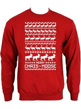 New Novelty Xmas Merry Chris-Moose Mens Red Christmas Jumper