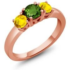 1.22 Ct Round Green Chrome Diopside Yellow Sapphire 18K Rose Gold Ring