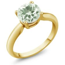 1.10 Ct Round Green Amethyst 18K Yellow Gold Plated Silver Ring