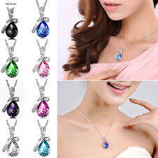 Fashion Silver Pendant Necklace Heart Jewelry Rhinestone Chain Women Crystal