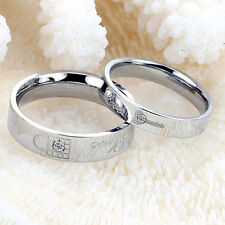 Fashion Lovers Ring Titanium Crystals Promise Key And Lock Love Couple Rings Hot