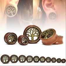 TUNNELS-EAR GAUGES-EAR PAIR-WOOD PLUGS TUNNELS-FLESH BRASS TREE OF LIFE EAR