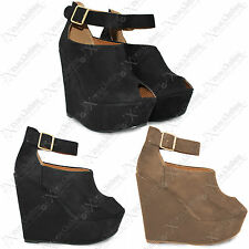 New Women Ladies Peep Toe Suede Wedges Shoes High Heel Platform Look Ankle Strap