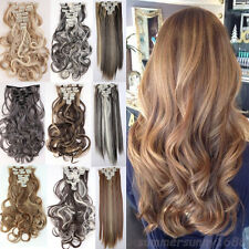 100% Thick Full Head Clip in for remy human Hair Extensions Wavy Straight sn98