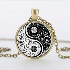 Pendant Necklace Alloy Glass Hot Flower Silver Chain Yin Yang Cabochon Tibet