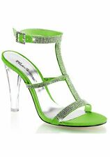 Fabulicious 4 1/2'' Heel, Rhinestone Covered Tri-Band T-Strap Sling Back Sandal