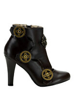 Demonia Women's 4'' Heel Steampunk Ankle Boot With Gear Buttons And Inner Zipper