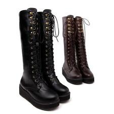 Women's Synthetic Leather Platform Wedge Heels Lace Up Mid Calf Boots shoes Size
