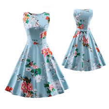 50's Vintage Prom Party Dress Womens Light Blue Floral Pinup Rockabilly Swing