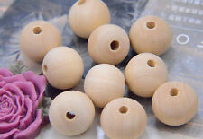 50 Unfinished Natural wood round beads unpainted wooden beads assorted size bead