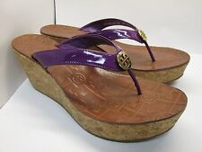 Tory Burch Women's Thora Purple Patent Leather Wedge Flip-Flop Gold Logo