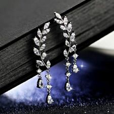 Women Fashion Gold Silver Crystal Zircon Leaf Tassel Ear Stud Earrings Jewelry