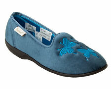 WOMENS DR KELLER BLUE VELOUR WARM COSY SLIP ON SLIPPERS MULES LADIES UK SIZE 3-8