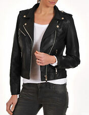 Brand New Women's Motorcycle Genuine Lambskin Leather Slim fit Jacket WJ - 901