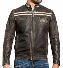 Affliction Black Premium - BLACK SKULL - Men's Leather Biker Jacket  NEW - Brown