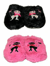 WOMENS CUTE BLACK PINK CAT SOFT FLUFFY SLIPPERS SLIP ON MULES LADIES UK SIZE 3-8