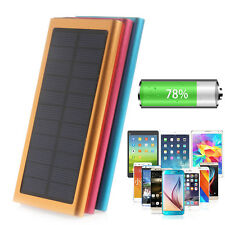 10000mAh Solar Dual-USB Panel Power Bank External Battery Camping Charger Phones