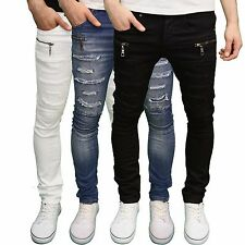 Seven Series Mens Designer Ripped Zip Detail Skinny Fit Jeans, 3 Colours BNWT