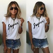 New Casual T-Shirt Summer Ladies Womens Cotton Blouse Tee Tops Short Sleeve