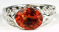 • SR360, Created Padparadsha CZ, East-West 925 Sterling Silver Ring -Handmade