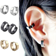 1 Pair Perfect Cool Mens Stainless Steel Hoop Earring Studs Ear Clip Jewelry Hot