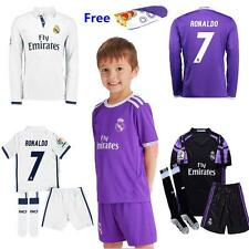 2017 Jersey Football Soccer Short Long Sleeve Kit+socks 3-14 Years Kids Boy Suit