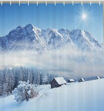 Winter In Mountains Snow Fabric SHOWER CURTAIN Pine Trees Country Hut Blue Sky