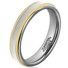 4mm Tungsten Carbide Gold Tone Edge Wedding Band Comfort Fit Dome Ring Silver