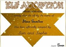 Personalised  Elf on the shelf- ELF ADOPTION CERTIFICATE- CHRISTMAS - XMAS