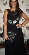 NEXT SZ 10 12 14 18 STYLISH BLACK & NUDE CHIFFON LACE MAXI DRESS BNWT RRP £85