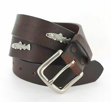 New Mens Hand Made Fishing Buffalo Leather Trout Concho Belt Made In USA Hunting