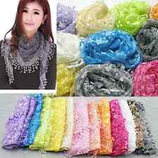 Colorful Women Lace Tassel Rose Floral Knit Mantilla Triangle Hollow Scarf Shawl