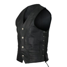 Buffalo Nickel Leather Motorcycle Vest with Braids and Side Laces