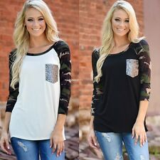 Autunm Woman Sequin Pocket Splice Blouse Pullover Crewneck Long Sleeve T-Shirt