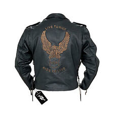 Classic Mens Biker Motorcycle Jacket Eagle Live to Ride Embossed Laces Black