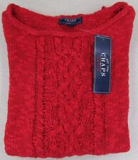 CHAPS by Ralph Lauren Women's Misses Cable Knit Red Lurex Sweater XS, L NEW