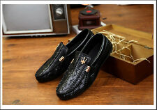 Fashion Casual Sneakers Leather Slip on Driving Loafer Canvas Men's shoes