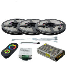 10M 15M SMD 5050 RGB LED Strip Light 12V Tape+Touch Remote Controller+Power