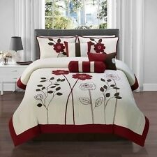 NEW Queen King Bed Red White Floral 7 pc Comforter Shams Pillows Set Elegant NWT