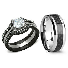 His Hers 4 Pc Black Stainless Steel Tungsten Wedding Engagement Ring Band Set LV