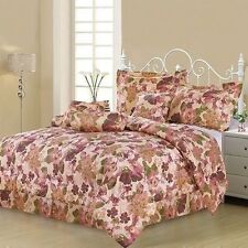 NEW Twin Full Queen King Bed 7pc Burgundy Rose Pink Floral Comforter Set Elegant