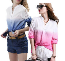 Long sleeve Blouse New Work Top Hot Front T Shirt V Neck Ladies Womens Chiffon