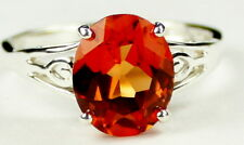 • SR139, 4.5 cts Created Padparadsha Sapphire, Sterling Silver Ring -Handmade