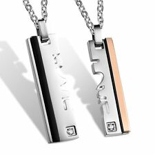 Love Puzzle Dog Tag His and Hers Stainless Steel Couple Pendant Necklace Gift