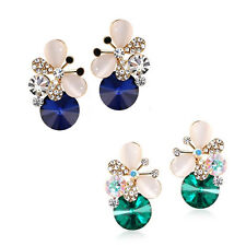 1 pair Stud Earrings Rhinestone Women Elegant Asymmetric Butterfly Jewelry