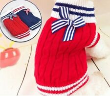 Pet Winter Clothing Dog Clothes Navy Butterfly Knot Pet Sweater  Apparel Puppy