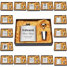 5 Sets Personalized Engraved 6oz Silver Hip Flask Gift Wedding Groomsman Favors