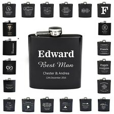 5PCS * Personalized Engraved 6oz Black Hip Flask Stainless Steel Wedding Favors