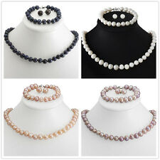 Fashion 8-9mm Natural Akoya Cultured Pearl Necklace Bracelet Earring Jewelry Set